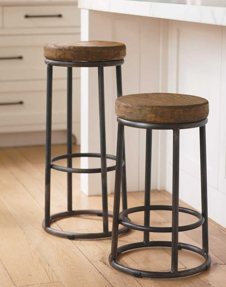 Vintage Metal Bar Stools That Will Inspire You in Getting  : traditional kitchen bar ideas with round wooden seat and metal frame for kitchen ideas from homesfeed.com size 736 x 937 jpeg 71kB