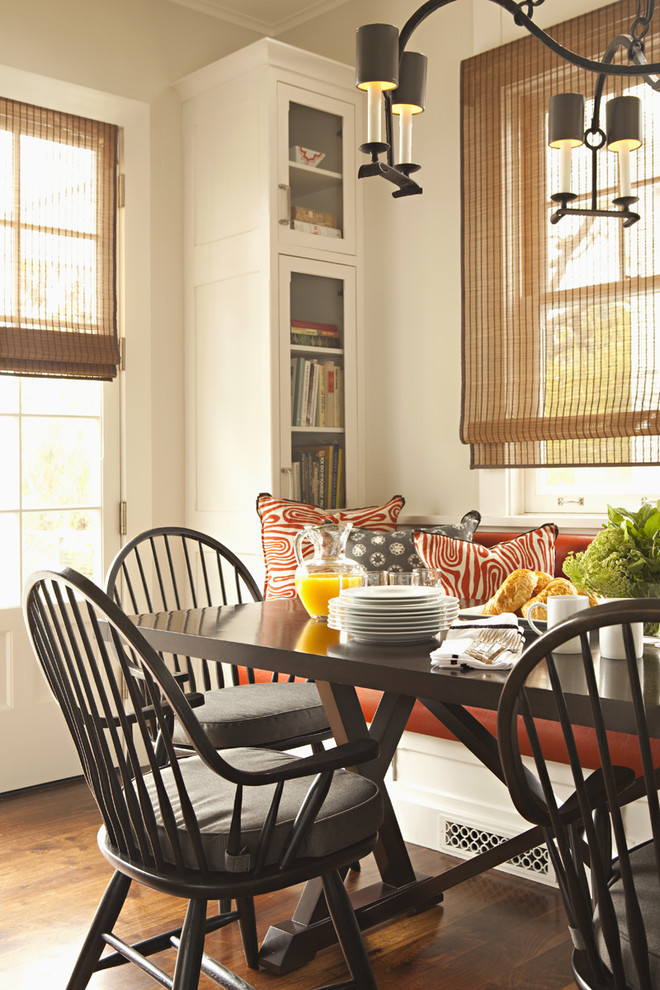 Genial Transitional Dining Room Seat Cushions With Grey Cushions Together With  Dark Wooden Table For Cozy Space