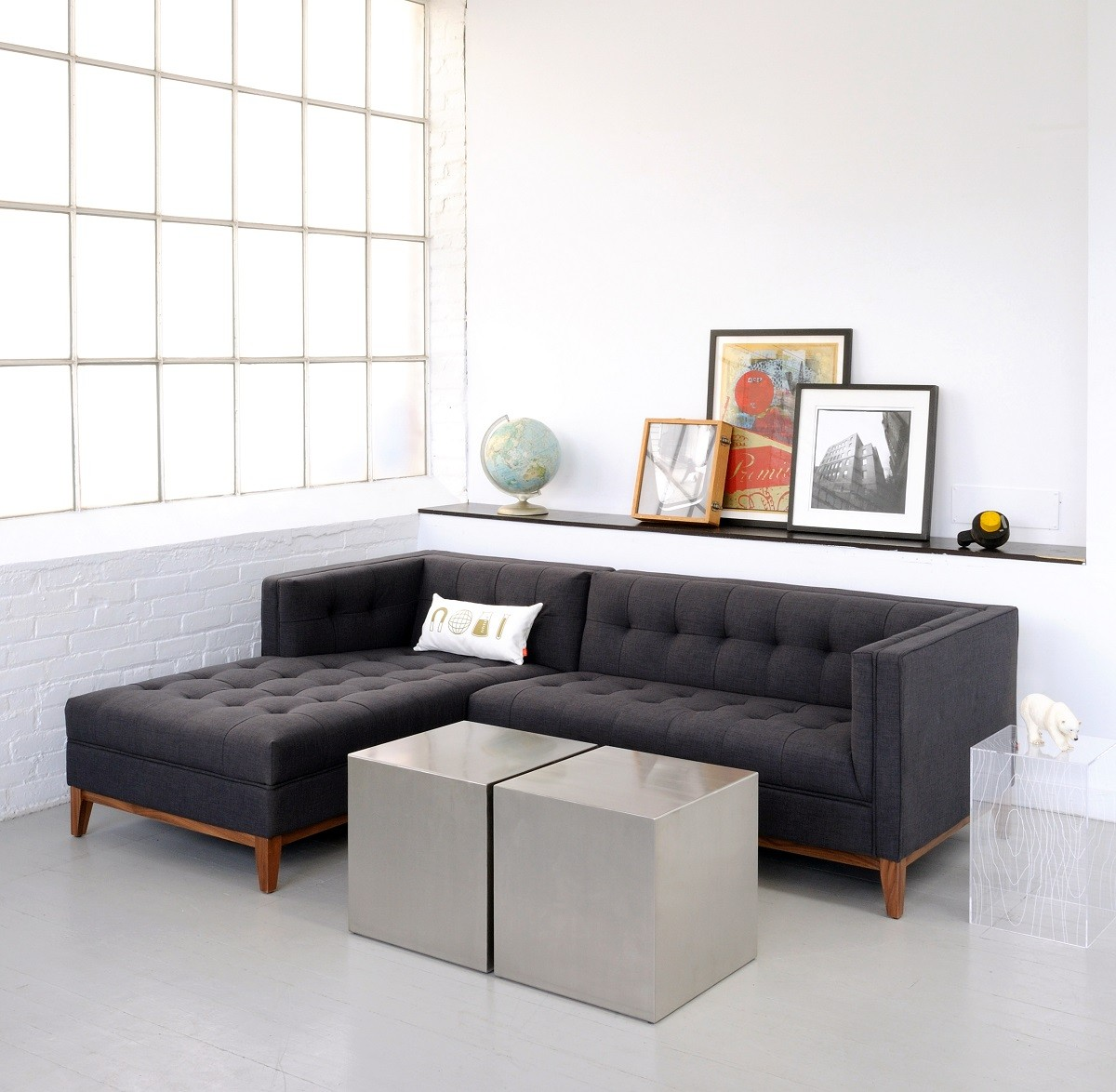 Tufted Apartment Sectional Sofas In Traditional Design With Two Boxes Of Coffee Table For Awesome Looking