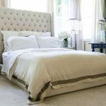 Tufted Tall Upholstered Bed In Contemporary Bedroom Ideas Plus Comfy Bedding Side And Black Wooden Side Table Plus Unique Nightstand