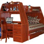 twin-loft-bed-with-desk-and-storage-drawers-in-brown-and-wooden-material-with-chair-and-many-stuffs-on-the-desk