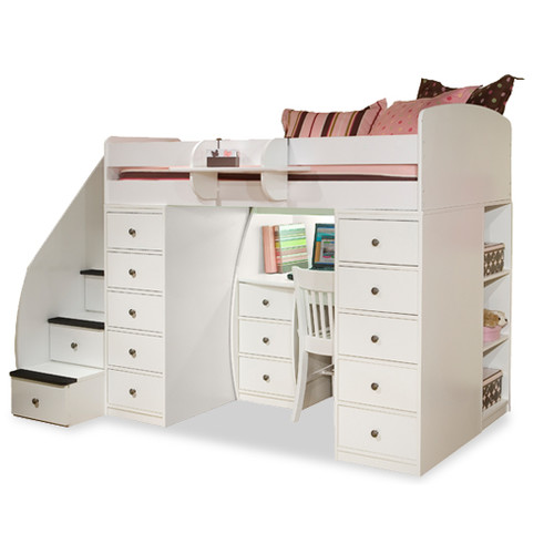 The advantages of twin loft bed with desk and storage homesfeed - Loft bed with drawers underneath ...