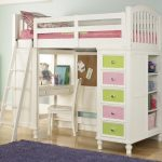 twin-loft-bed-with-desk-and-storage-in-white-and-soft-colors-fit-for-girls-with-ladder-and-5-drawers-and-shelves-and-chair-also-with-blue-rug
