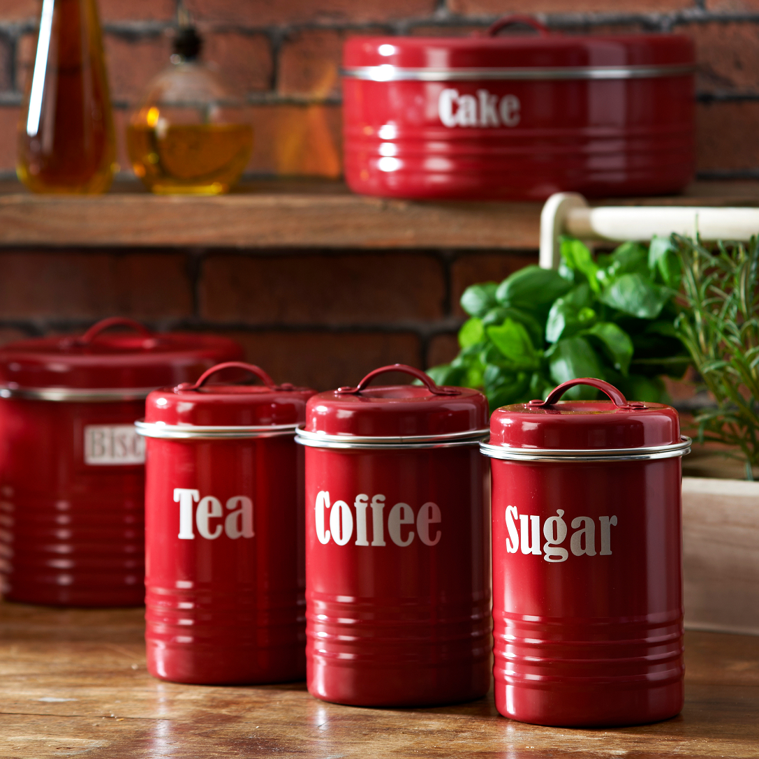 kitchen canister sets in red color homesfeed typhoon vintage red kitchen canister set with high