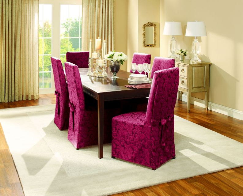 purple slipcover for dining chairs is ready to color the dining room