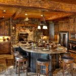 unique and rustic country house interior design with round kitchen dining bar with wooden siding and unqiue cabinetry