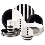 unique black and white dinnerware design with stripe pattern and solid black and white style and botton