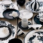 Unique Black And White Dinnerware Idea With Floral And Polka Dot Pattern On Wooden Table
