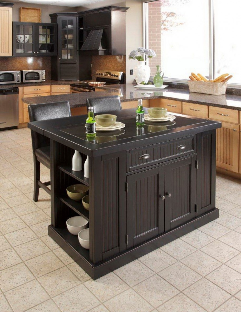 Unique Black Island Design With Racks In Small Kitchen With Small Tile  Flooring And Beige Cbanetry