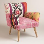 unique boho chic pink accent chair idea with patterned fibre slipcover