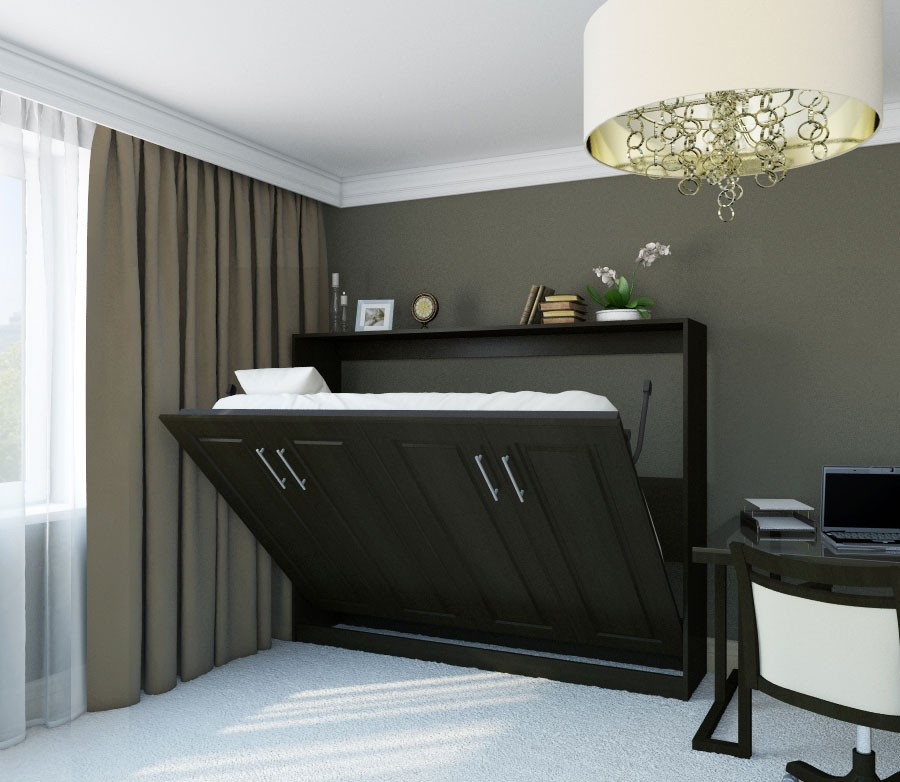 Unique Gray Bedroom Idea With Gray Curtain And Black Murphy Bed Kit Lowes  And White Desk