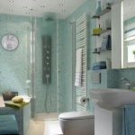 unique soft boue small toilet dimension design with walk in shower and white vanity and soft blue chair