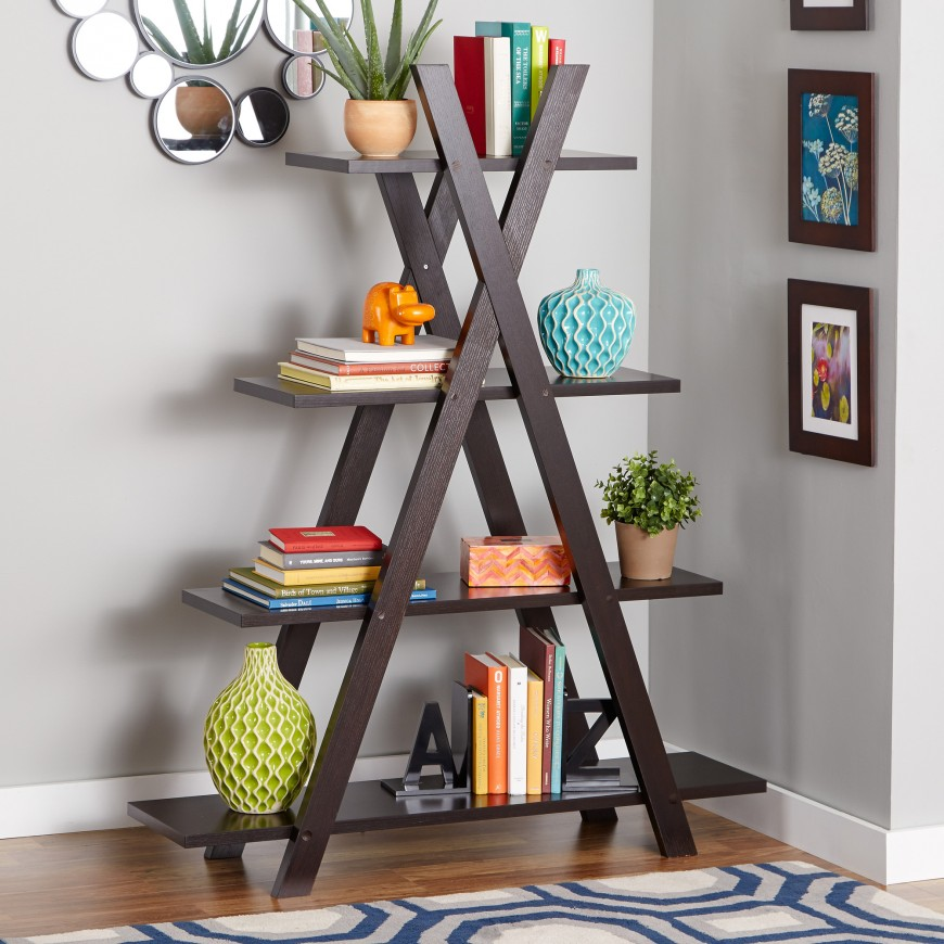 Feeling Great With Unique Freestanding Bookshelves In The