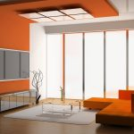 unique zen interior design with orange siding and orange sofa and gray area rug and glass window and wooden floor
