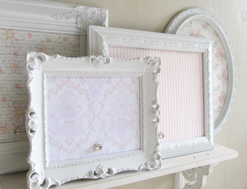 Various Decorative Magnetic Board With Attractive White Frame And Girly Background For Home Office Entryway