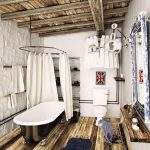 vintage bathroom design with white color trend and luxurious bathtub and wooden flooring and ceiling