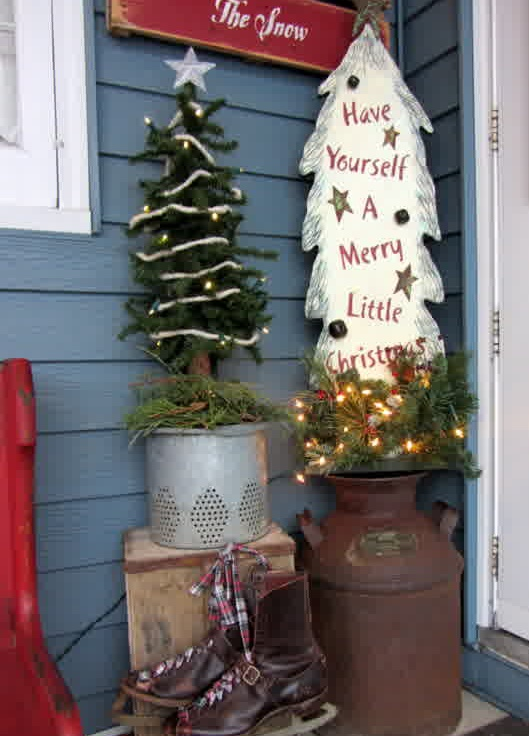 vintage christmas outdoor decoration with old milk churn - 1950s Outdoor Christmas Decorations