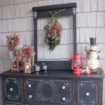 Vintage Outdoor Christmas Decoration By Attagirlsays With Park Hill Lanterns And Red Berries With Chalkboard Mugs On The Black Vintage Buffet