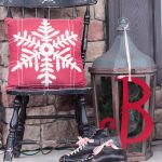 Vintage Outdoor Christmas Decoration For The Porch By Attagirlsays With Vintage Black Ice Skate With Ticking Ribbon Lace On Them