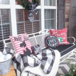 Vintage Outdoor Christmas Decoration In The Porch With Vintage Bench With Black Cushion And Chalkboard Theme With Throw Pillow By Attagirlsays