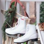 Vintage Outdoor Christmas Decoration With Decorative And Photogenic White Vintage Ice Skate Hang On The Vintage Slade By Attagirlsays