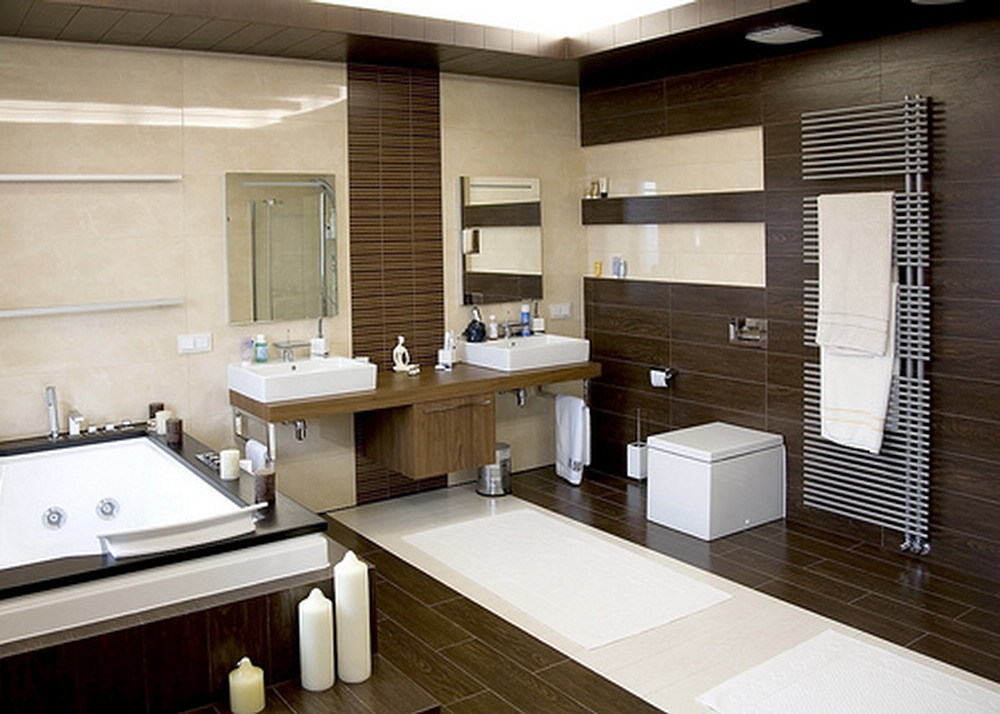 Brown And White Bathroom. well organized modern bathroom idea with creamy siding and brown wooden  wall unit white Contemporary Rug for Luxurious Bathroom Look HomesFeed