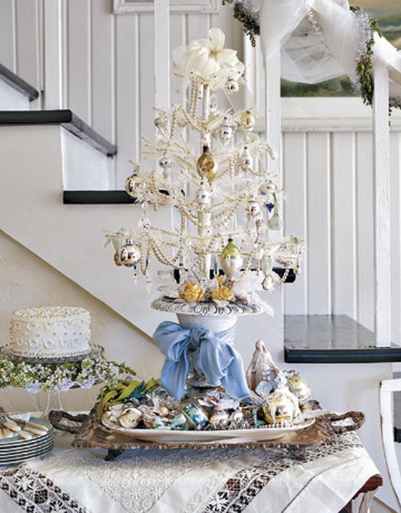 Elegant white table top christmas tree homesfeed for White xmas decorations