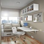white floating corner desk for cozy home office featuring square mounted shelves and wooden floor together with bench with storage