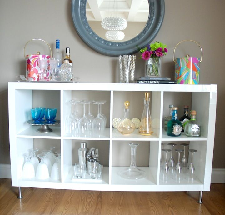 White Home Bars Ikea With Metal Legs Featuring Round Mirror Mounted On The  Wall Plus Wooden