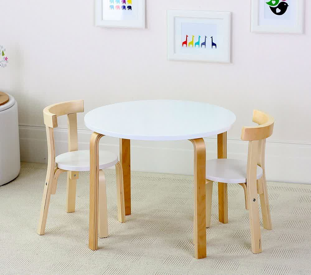 White Round Top Table And A Pair Of Wood Chairs With White Round Seat And  Semi