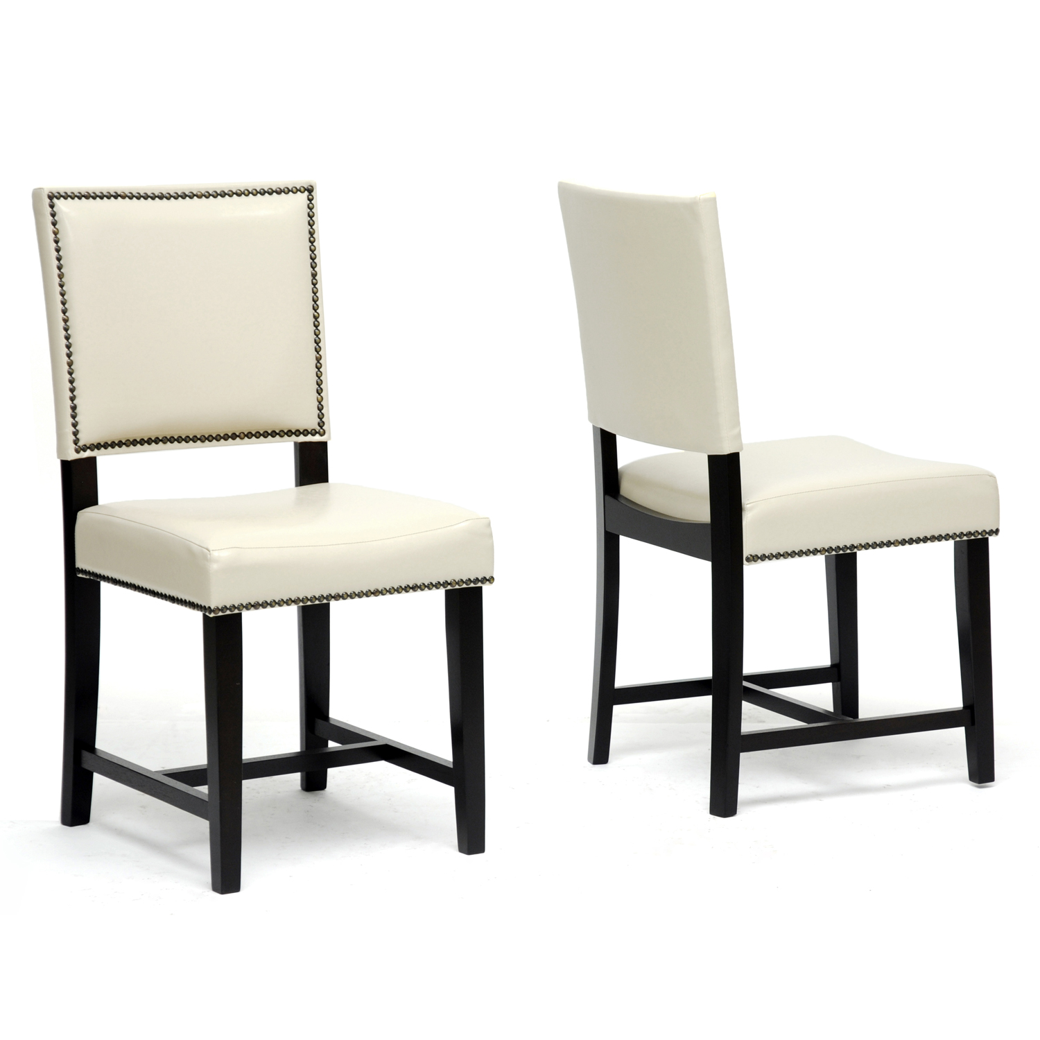 White Upholstered Dining Chair With Nailheads Together With Amusing Backs  And Sophisticated Design