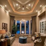 wondrous american home interior design with gray sofa and wing chairs and navy blue coffee table and curved glass door and suspended ceiling
