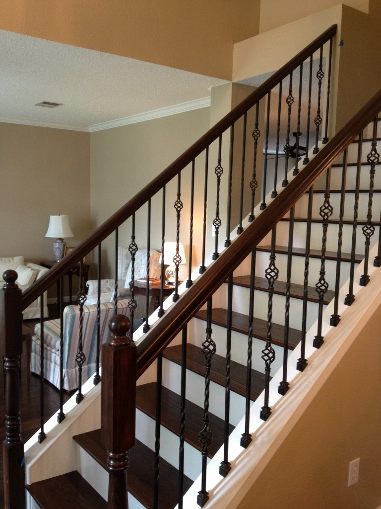 Wrought iron stair railings for creating awesome looking for Interior iron railing designs