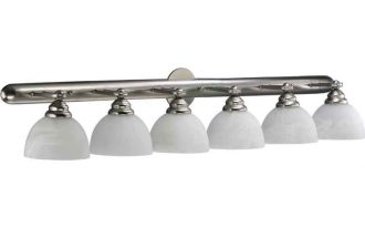 6 Light Vanity Fixture With White Round Lights