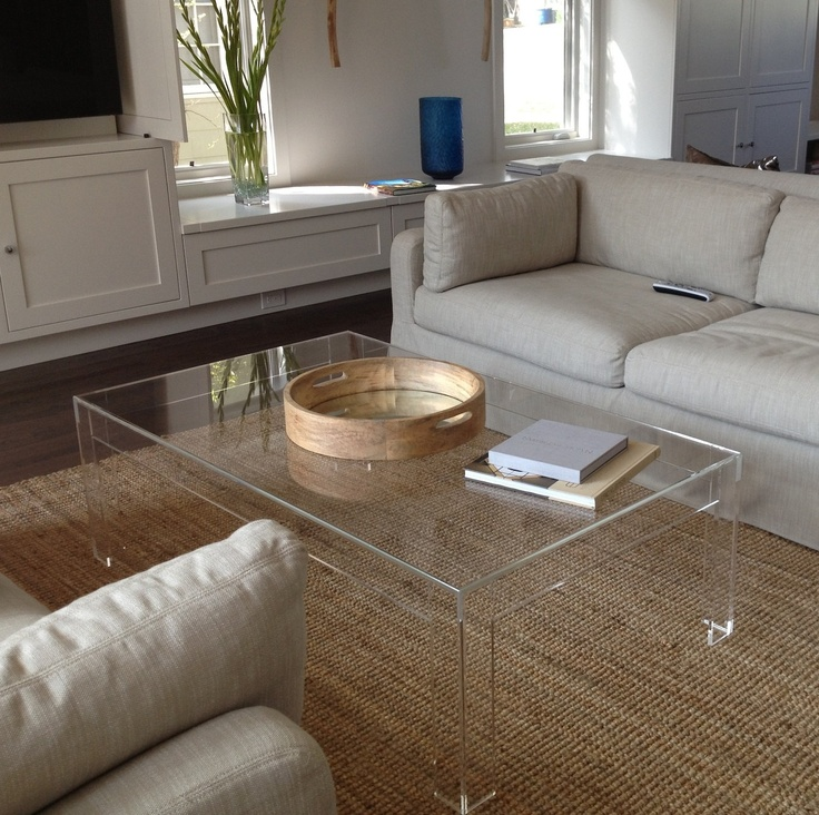 Acrylic Lucite Coffee Table Ikea With White Couches And Natural Rug.  Beautiful Living Room ...