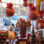 All red ornaments for decorating window