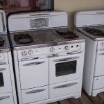 Antique Looking Stoves With White Grey Metal Design