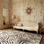 Artistic Living Room With Plant Wallpaper Theme Classic Sofa And Cheetah Print Rugs