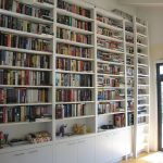 Awesome Big Library With Wooden Wall Mounted Target Book Cases
