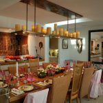 Awesome Dining Room With Beautiful Decoration On Dining Room Table And Long Real Candle Chandelier
