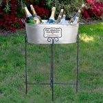 Awesome Grey Beverage Bucket With Stand And Wines For Outdoor