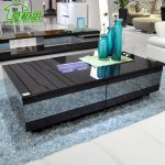 Awesome Modern Black High End Coffee Tables On Blue Fur Rug