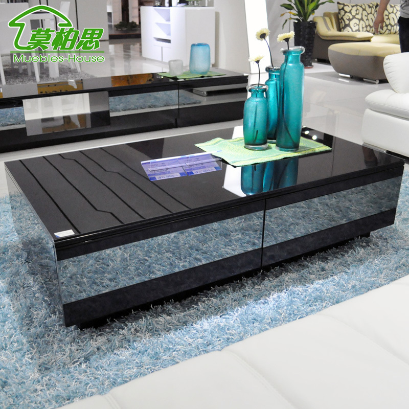 Superb Awesome Modern Black High End Coffee Tables On Blue Fur Rug