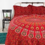 Awesome Red Urban Outfitter Bedding With Dark Wooden Chair And Green Rug