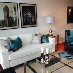 Awesome Teal Living Room Decor On Pillows With White Sofa And Glass Table