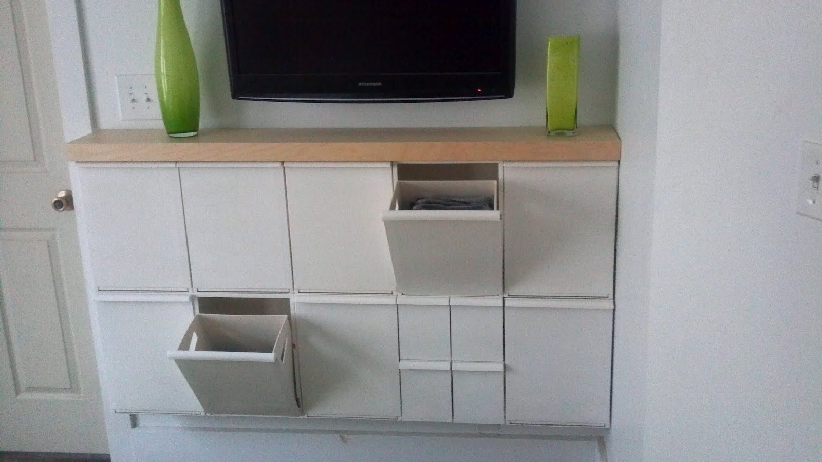 Awesome White Cabinet Of Ikea Recycle Bins Under TV