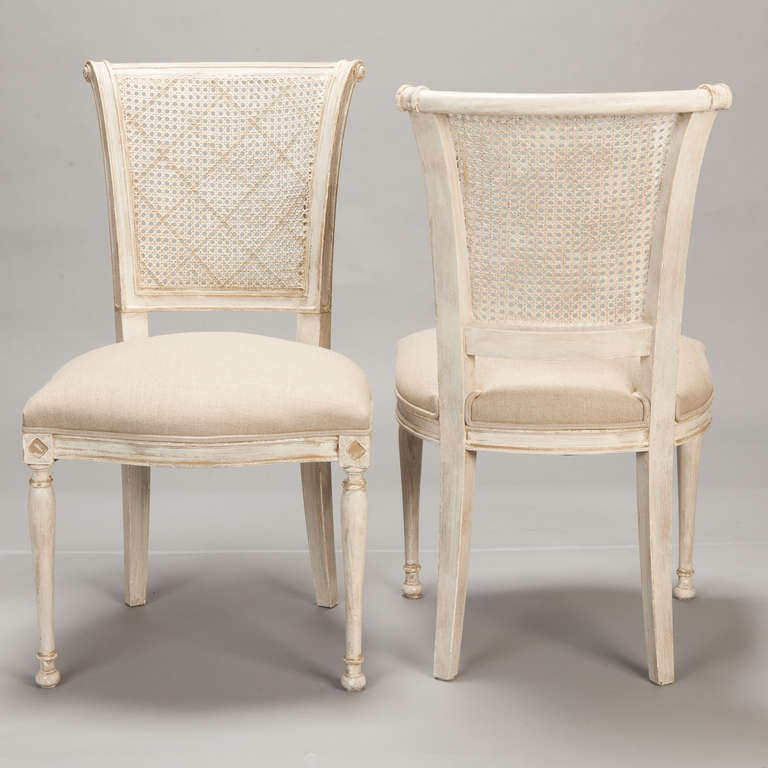 Awesome White Wooden Cane Back Dining Chair