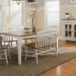 Awesome White Wooden Dining Room Benches With Backs And White Glass Door Cabinet Plus Large Stylish Rug