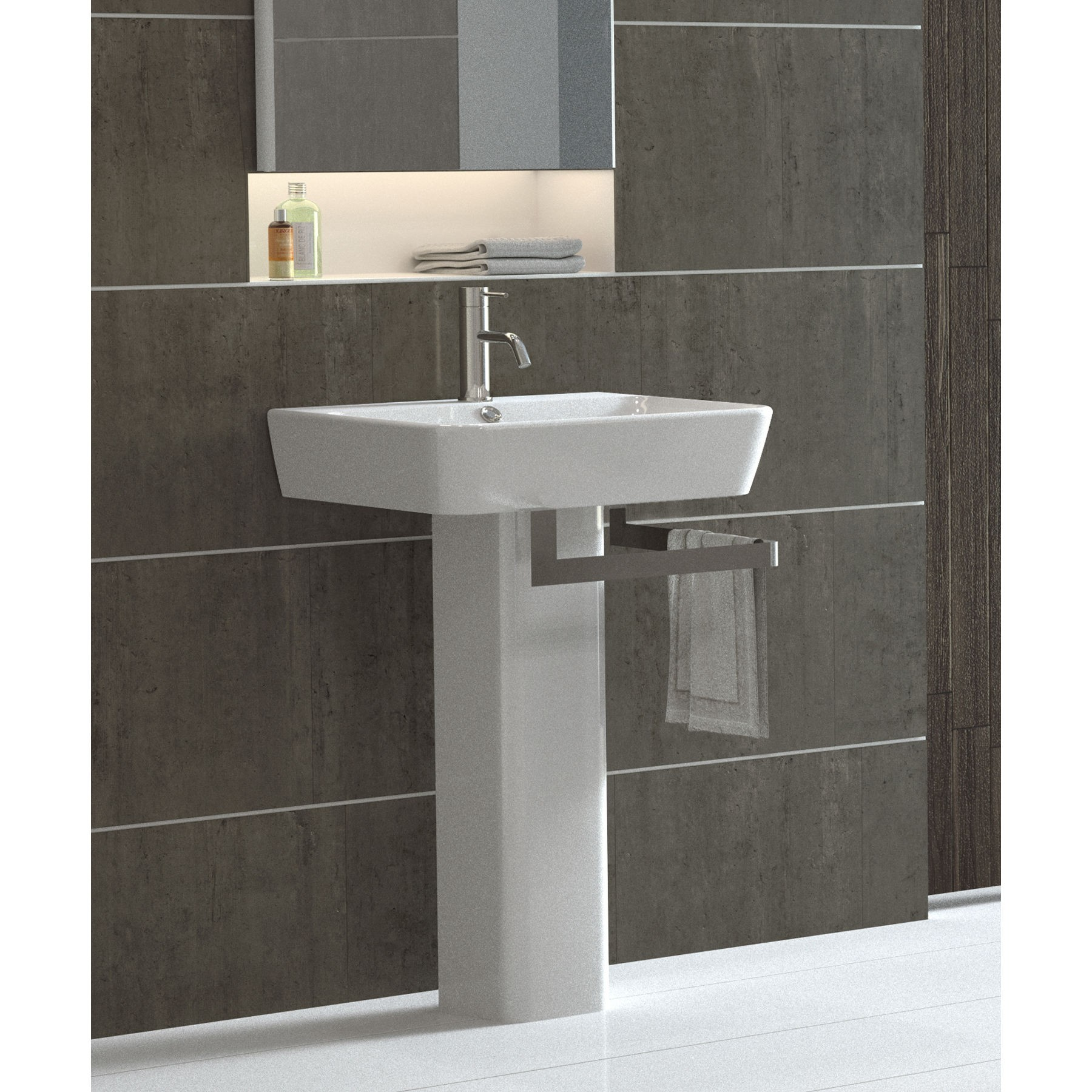 modern pedestal sink with towel bar homesfeed. Black Bedroom Furniture Sets. Home Design Ideas