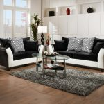Beautiful Couch And Loveseat Sets With Black And White Color Design Glass Top Table And Grey Fur Rug